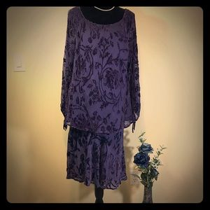 Venezia Purple Floral Pattern Velour Skirt Set